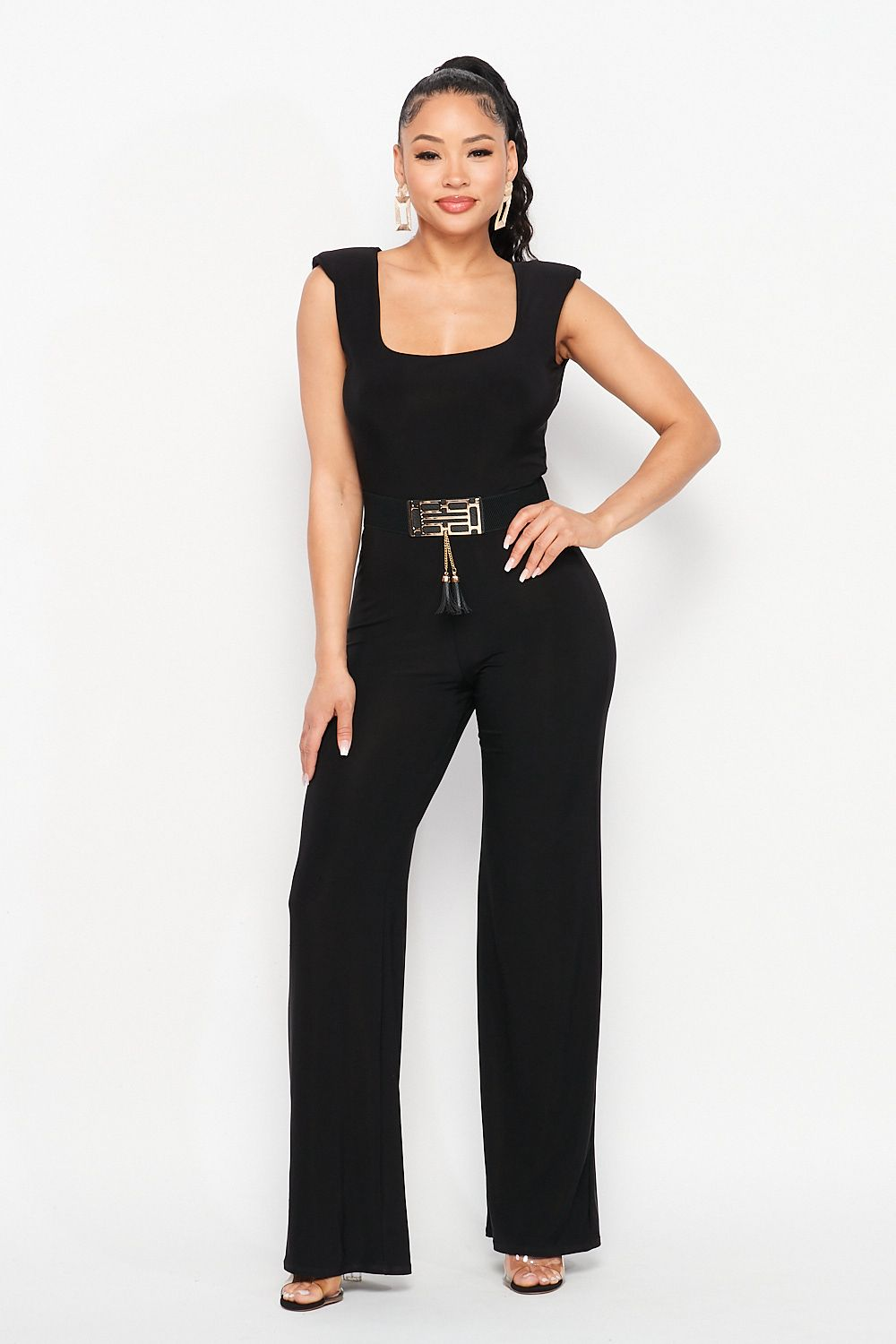 Solid Double Fabric Wide Leg Square Neckline Jumpsuit with Gold Belt in Black - Fashion House USA