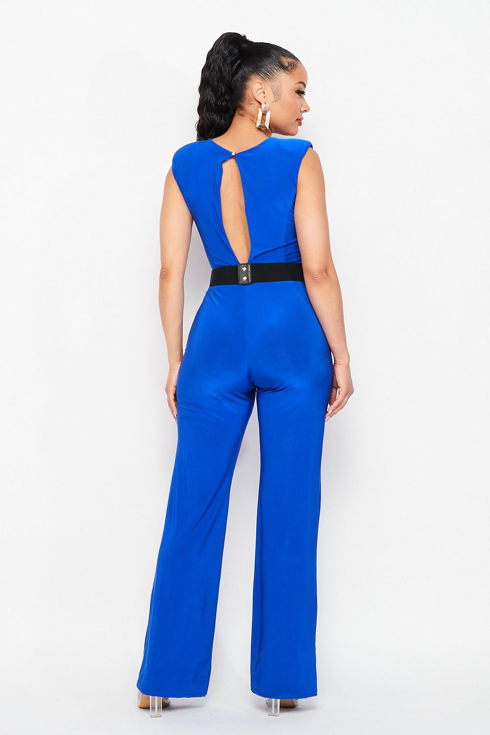 Solid Double Fabric Wide Leg Square Neckline Jumpsuit with Gold Belt in Royal Blue - Fashion House USA