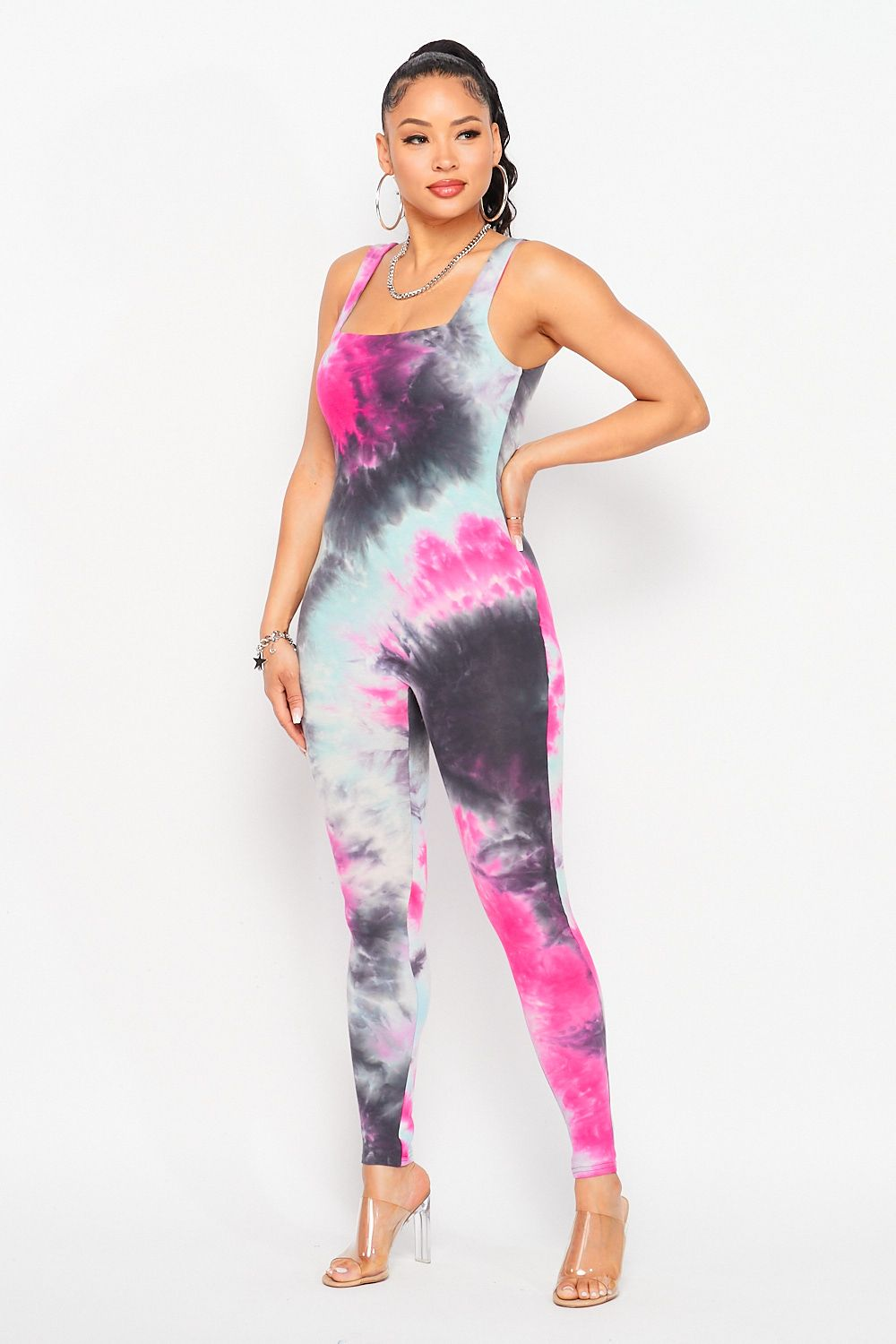 Double Lined Tie-Dye Sleeveless Jumpsuit in Fuchsia