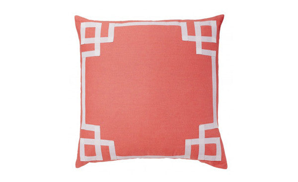 Coral Greek Key Trim Pillow