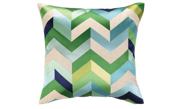 Blue & Green Chevron Pillow