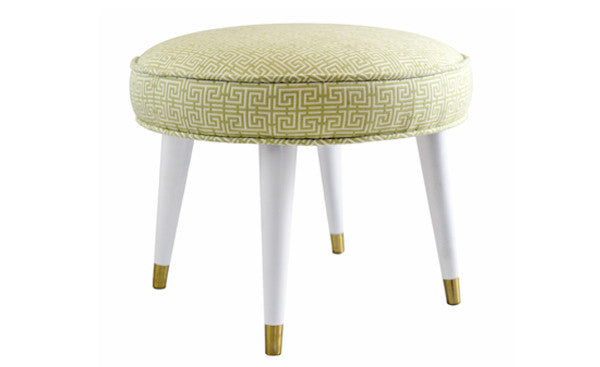 Green Greek Key Foot Stool