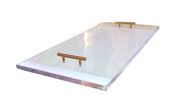 Lucite Tray with Brass Handles