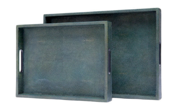 Teal Faux Shagreen Trays