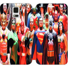 ALEX ROSS JUSTICE LEAGUE WALLET CASE W/ STAND FLIP COVER FOR SAMSUNG GALAXY S5