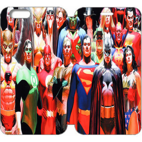 Alex Ross Justice League Wallet Case W Stand Flip Cover