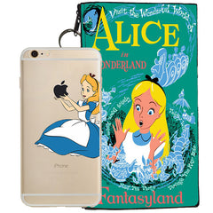 Disney's Alice in Wonderland Holding Logo Clear Case For Apple Iphone 6/6s PLUS + Pouch