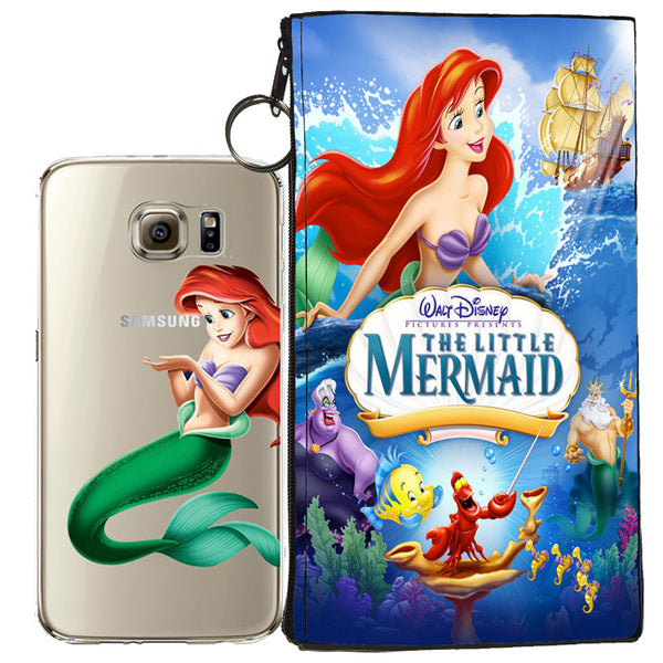 the latest 65eb5 8b62f Disney's Little Mermaid Ariel Jelly Clear Case For Samsung Galaxy S7 EDGE +  Pouch