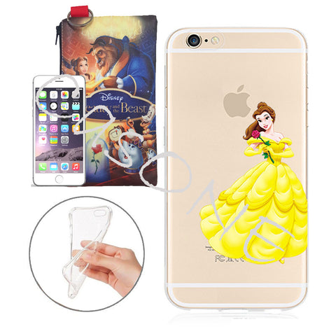 hot sale online cb37f 10e86 Disney's Beauty and the Beast Belle Jelly Clear Case For Apple Iphone 5/ 5s  /SE + Pouch