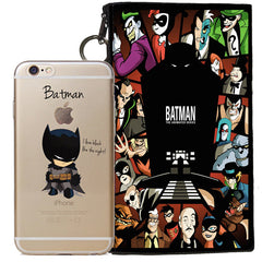 Batman Jelly Clear Case For Apple Iphone 6/6s PLUS + Pouch