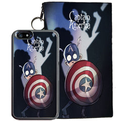 Captain America for iPhone 7 TPU+PC Case + Zipper Pouch (Tim Burton Style Art)