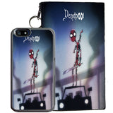 Deadpool for iPhone 7 TPU+PC Case + Zipper Pouch (Tim Burton Style Art)