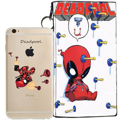 Deadpool Jelly Clear Case For Apple Iphone 6/6s + Pouch