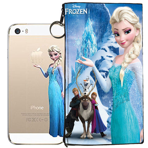 Disney's Frozen Holding Logo Clear Case For Apple Iphone 5/ 5s /SE + Pouch