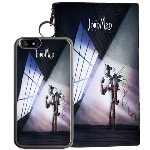 Iron Man for iPhone 7 TPU+PC Case + Zipper Pouch (Tim Burton Style Art)