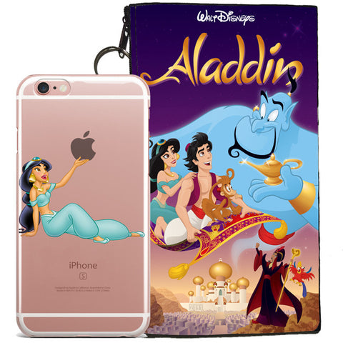 Disney's Aladdin Jelly Clear Case For Apple Iphone 6/6s + Pouch