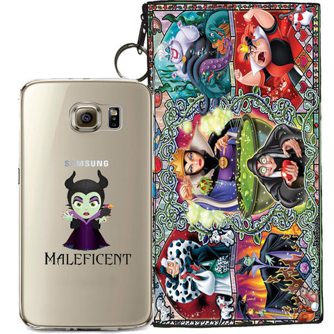 Disney's Villains (Maleficent) Jelly Clear Case For Samsung Galaxy S7 + Pouch