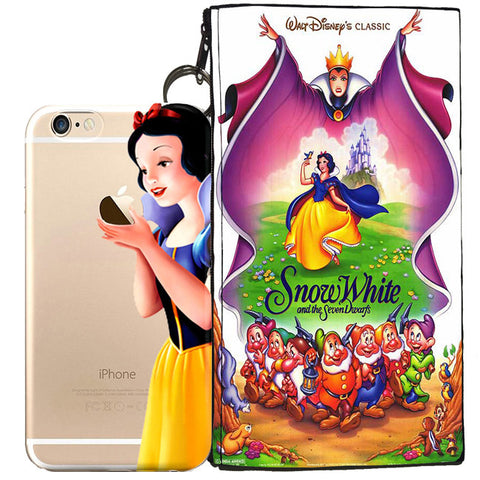 Disney's Snow White Holding Logo Clear Case For Apple Iphone 7 + Pouch
