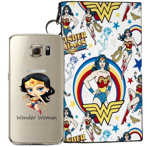 Wonder Woman Jelly Clear Case For Samsung Galaxy S6 + Pouch