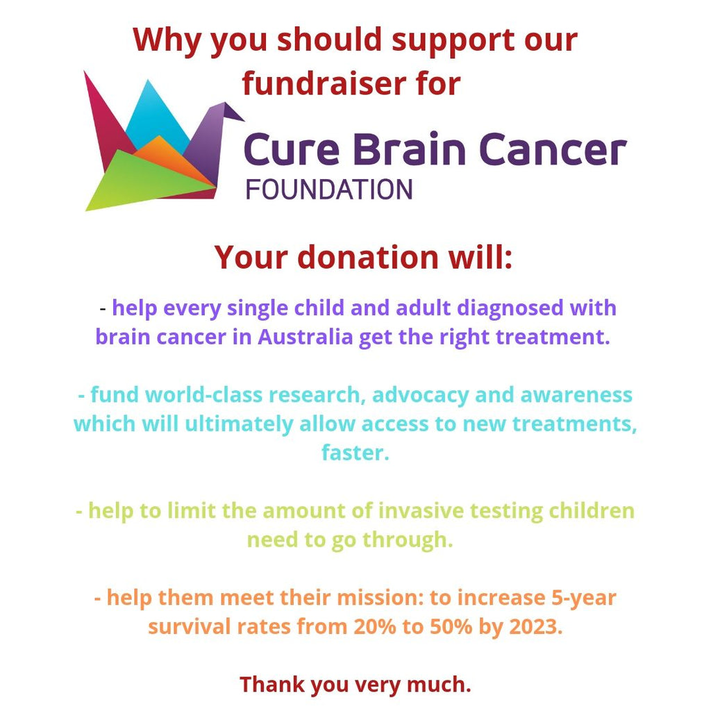 A wrap up of our May 2019 fundraiser for Cure Brain Cancer Foundation (CBCF)