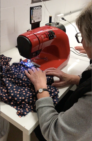 Margaret having a sewing lesson at Crumbz Craft