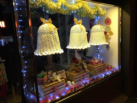 Christmas bells in Crumbz Craft's Christmas window