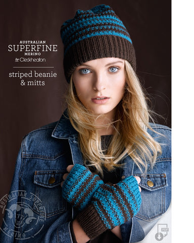 431 Striped Beanie & Mitts