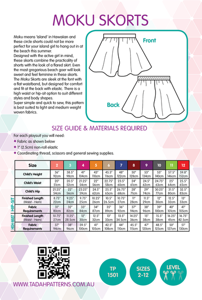 Moku Skorts Sewing Pattern