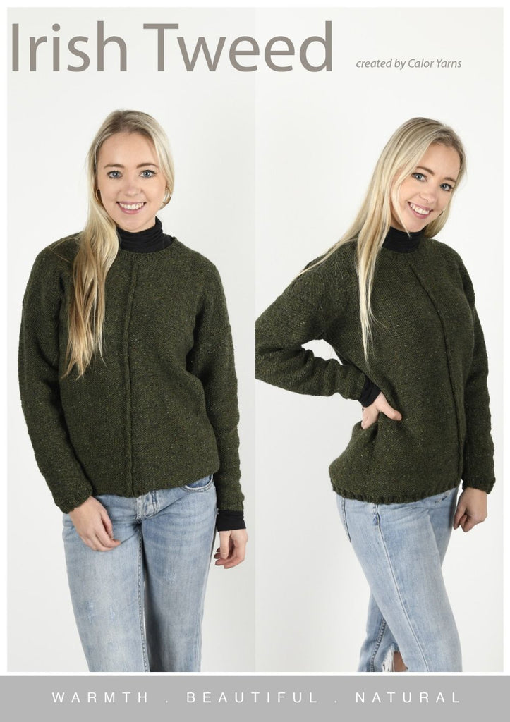 CY126 Irish Tweed (Oak) Classic Sweater (Digital Pattern)
