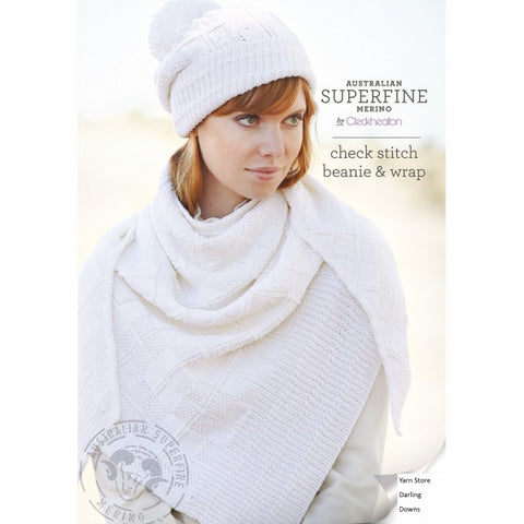452 Check Stitch Beanie & Wrap