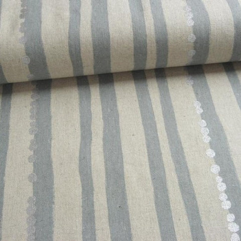 Echino Stripe Grey Silver Metallic Dots