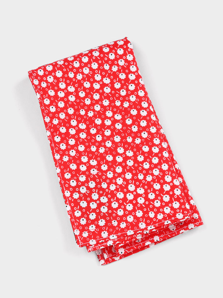 Cotton pocket square in red poppy print