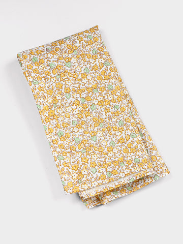 Cotton pocket square in yellow garden print
