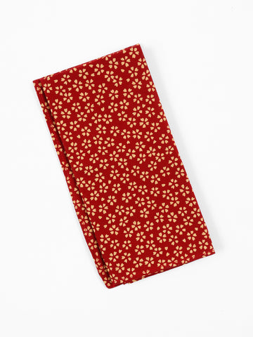 Pocket Square in Red Blossoms