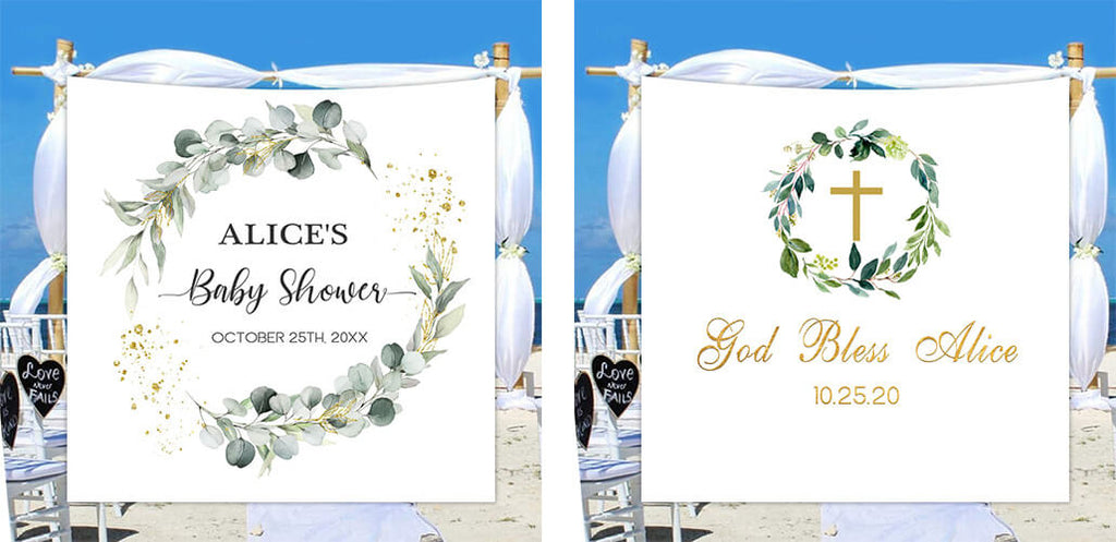 To get your personalized baby shower party backdrop