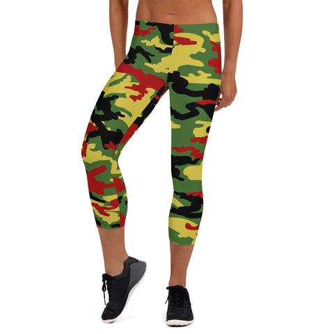 Rasta Camo Capri Leggings