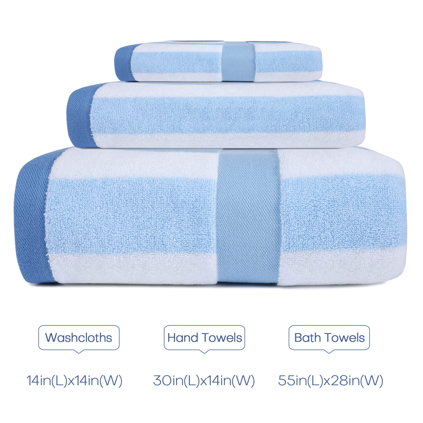The size of the Egyptian cotton bath towel set