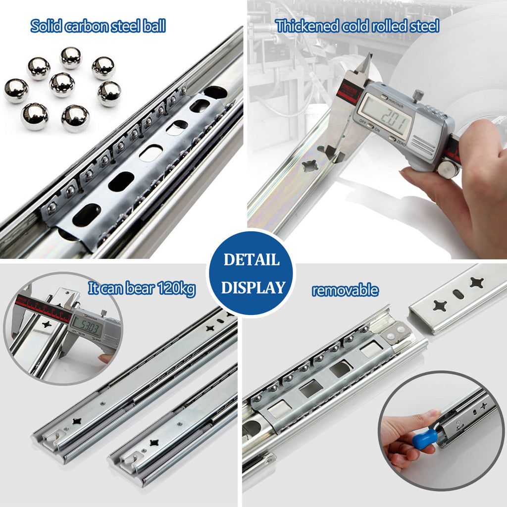 Details of the heavy duty drawer slides