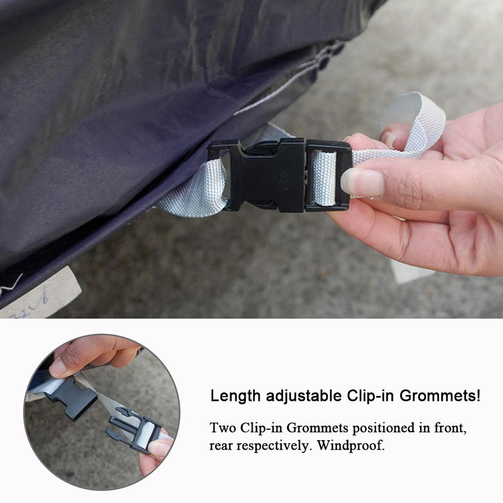 This car cove with length adjustable clip-in gromments