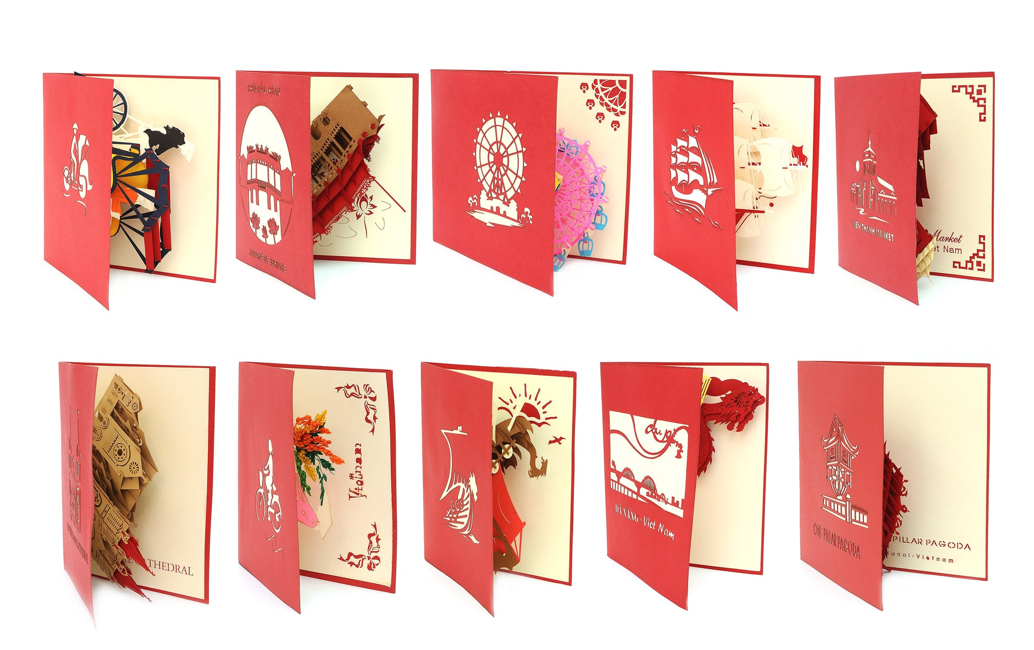 Vietnamese Symbol Handmade 3D Pop Up Paper Card
