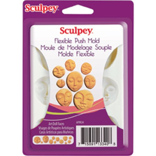 Polyform Sculpey Flexible Push Mold, Art Doll Faces / Family Time Polymer Clay