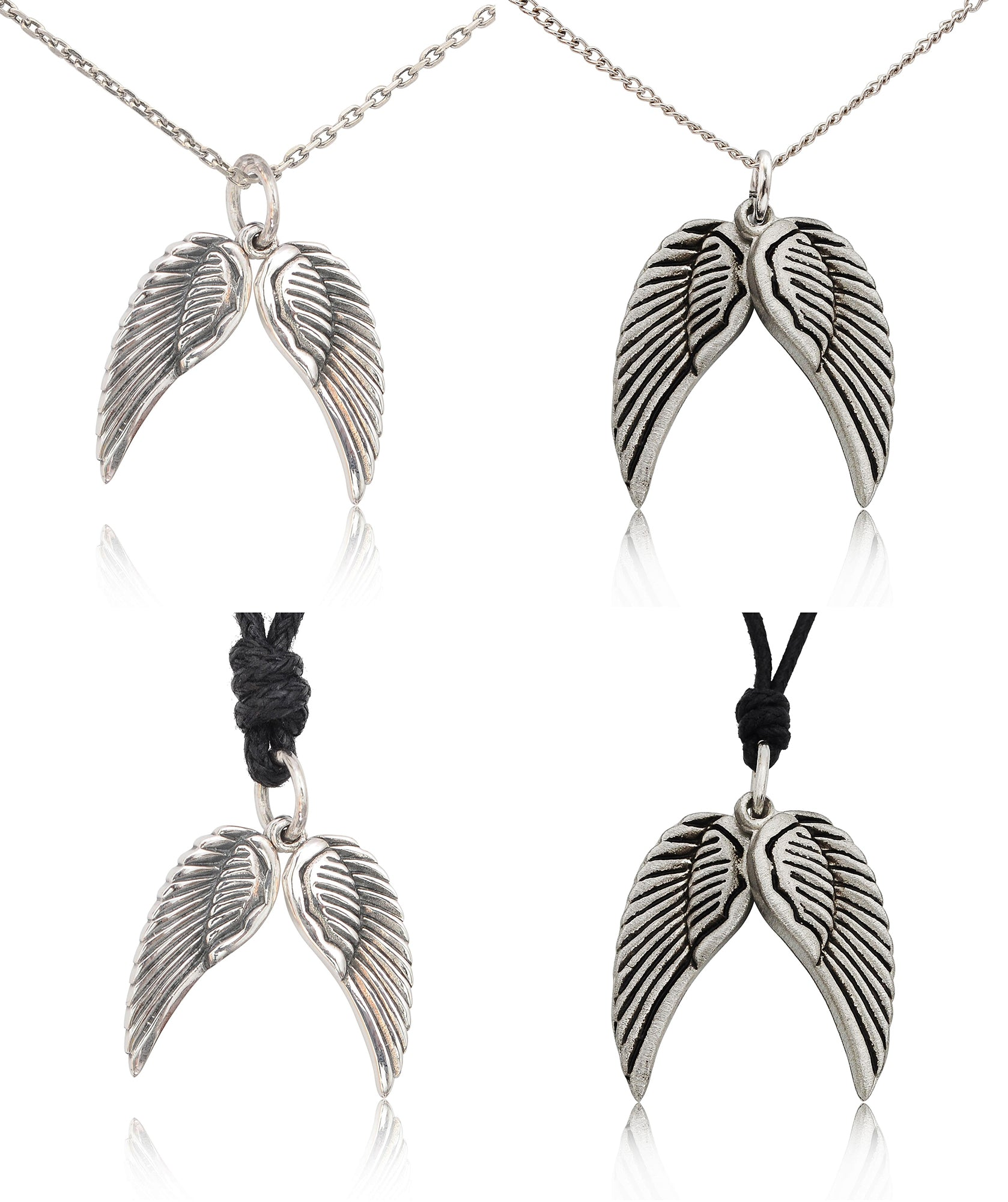Pair Angel Wings 92.5 Sterling Silver Pewter Charm Necklace Pendant Jewelry