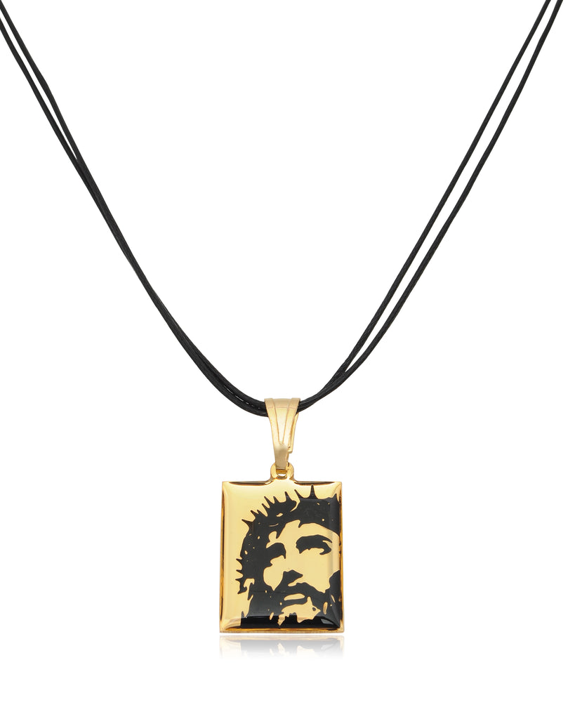 Jesus Christ Wearing The Crown Of Thorns Gold Plated Brass Handmade Pendant