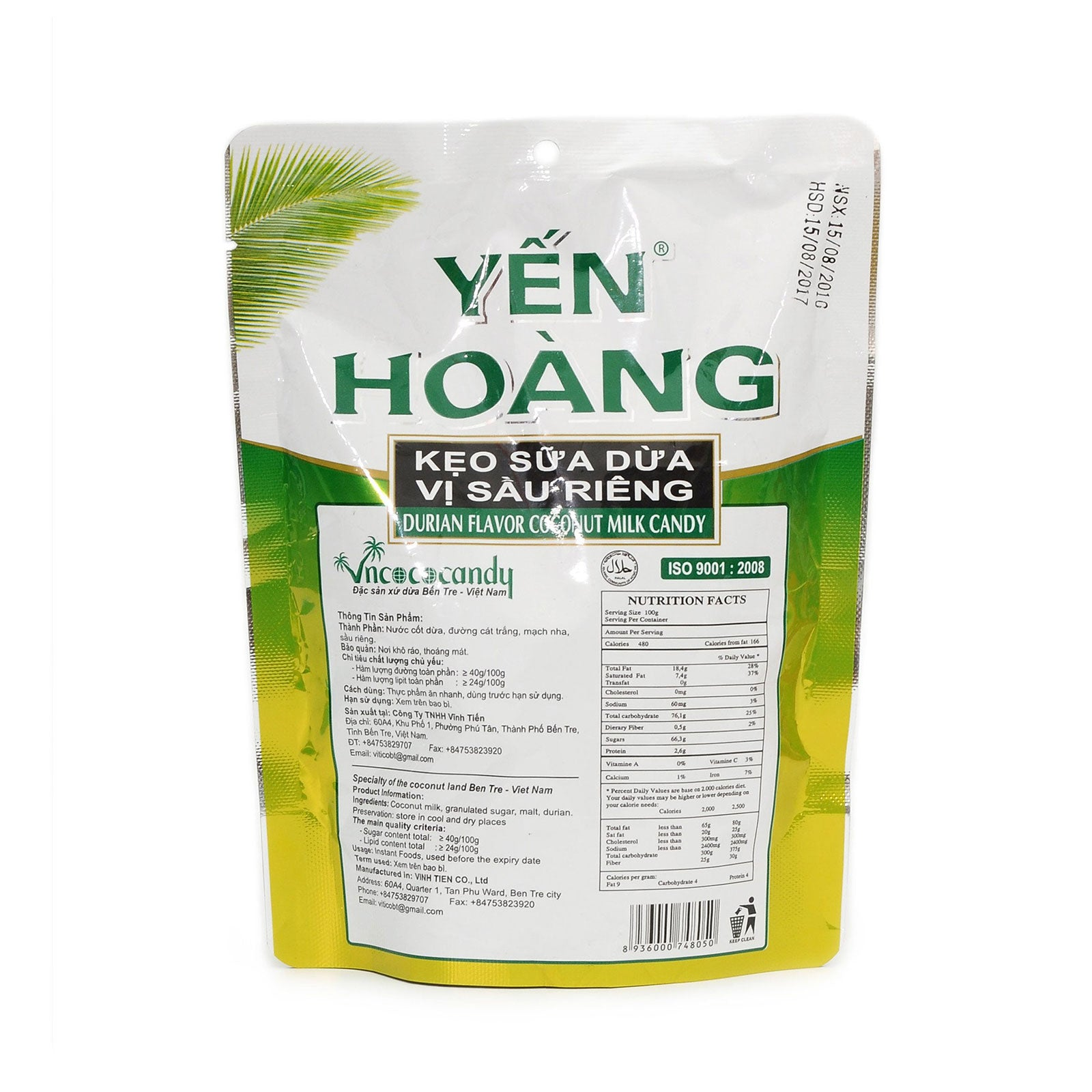 Yen Hoang Coconut Milk Candy Durian, Coffee Made in Vietnam 3 Flavors 32 pieces