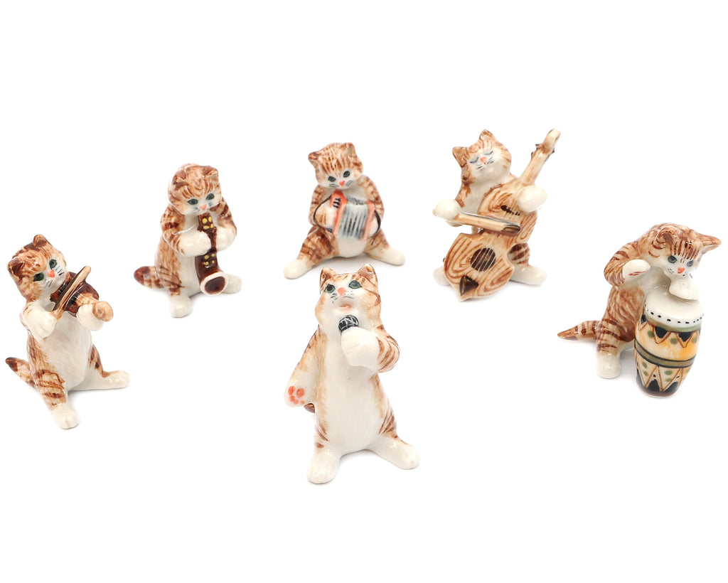 Brown Cat Music Band Handmade Ceramic Figurine Miniature Decor/Animal Collection