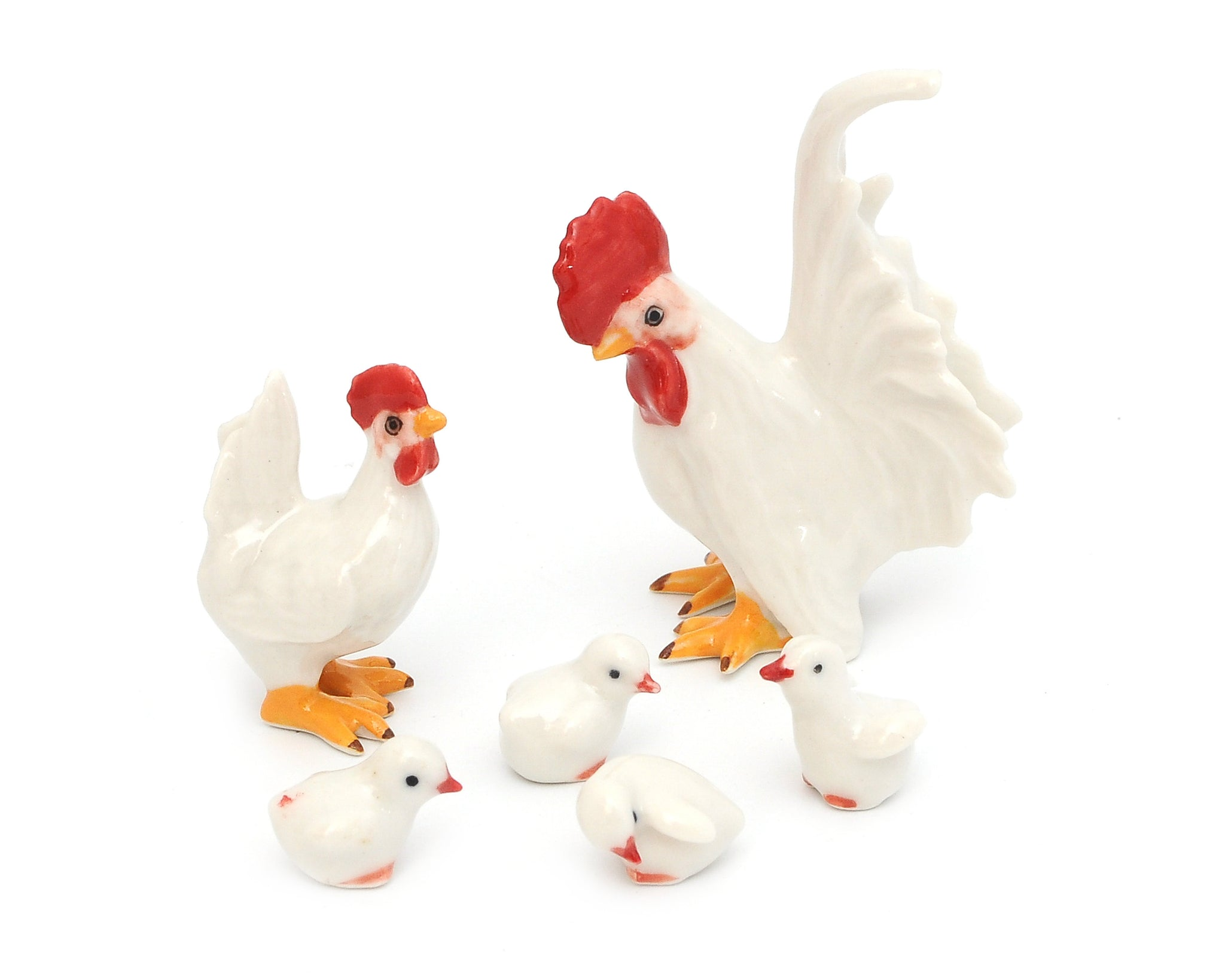 Handmade Miniatures Ceramic Chickens Figurine Animals Decor/Animal Collection