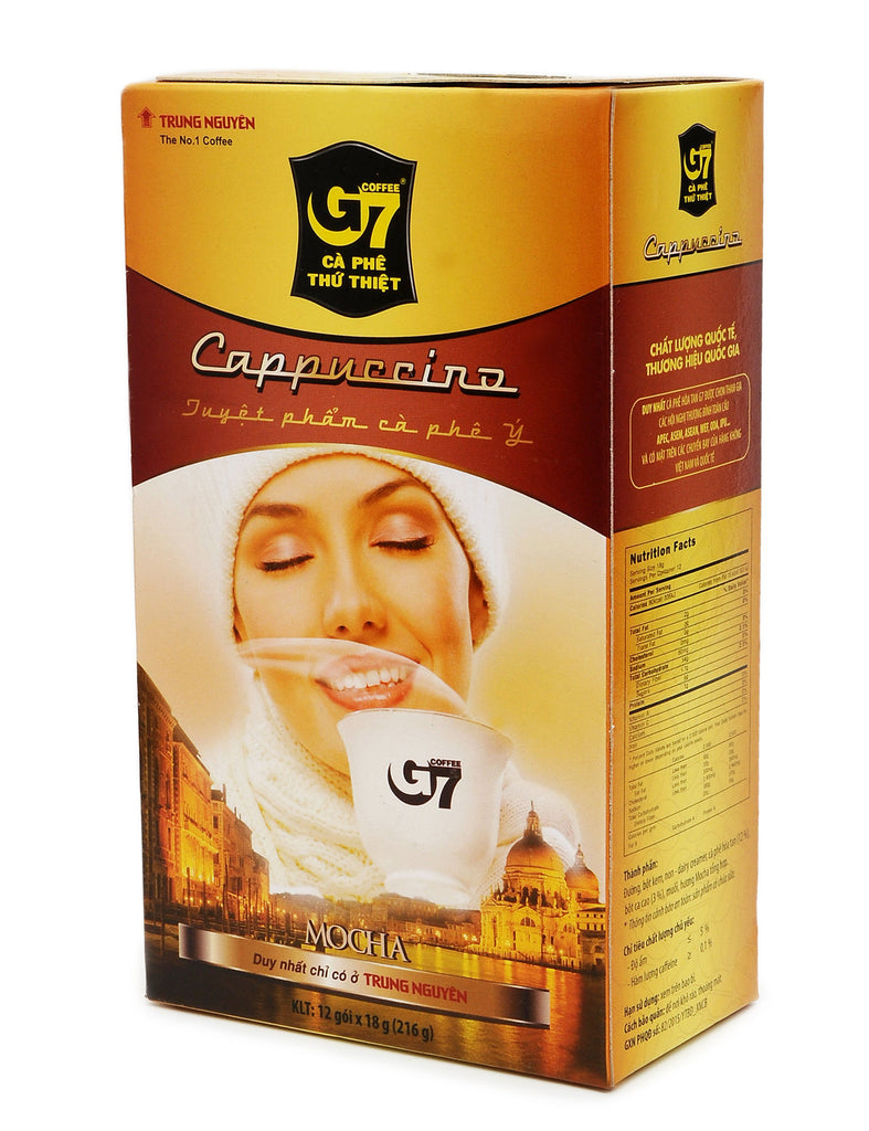 Trung Nguyen G7  Cappuccino Instant Coffee with 2 flavors Mocha & Hazelnut