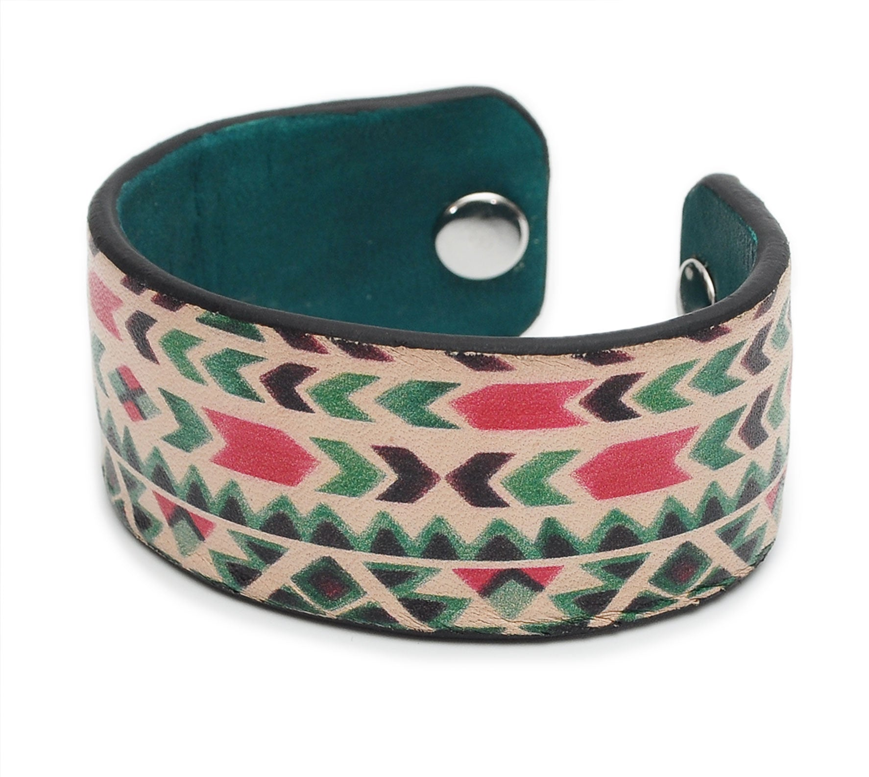 Multicolor Aztec Patterns Print Handmade Leather Bracelet Jewelry HLB_01