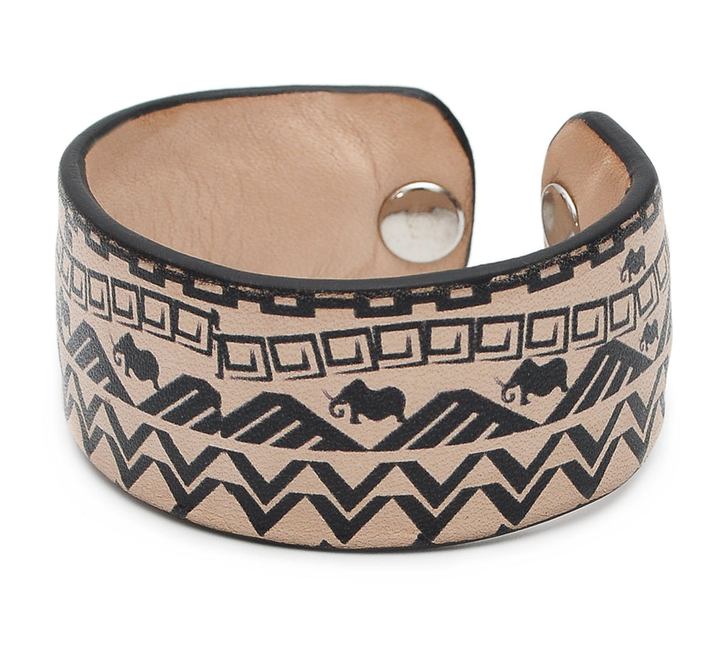 Black and White Pattern Print Handmade Leather Bracelet Jewelry HLB_01