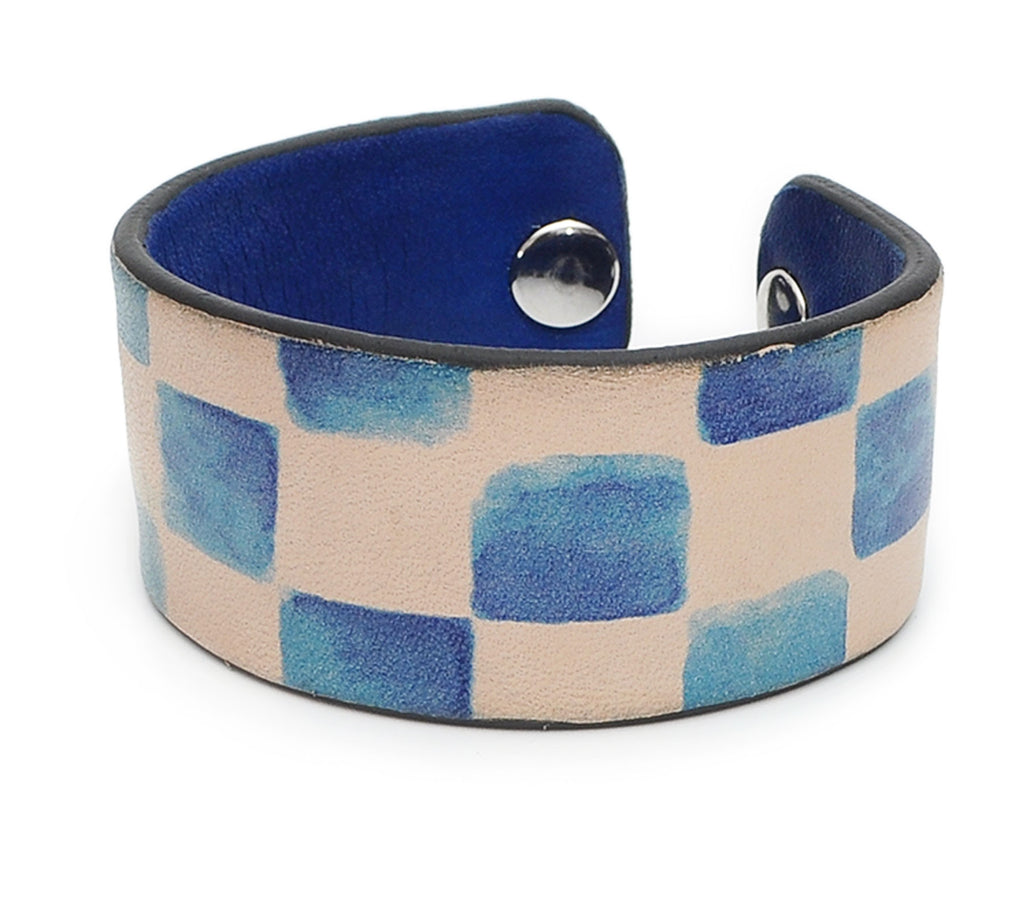 Watercolor Blue Patterns Print Handmade Leather Bracelet Jewelry HLB_01